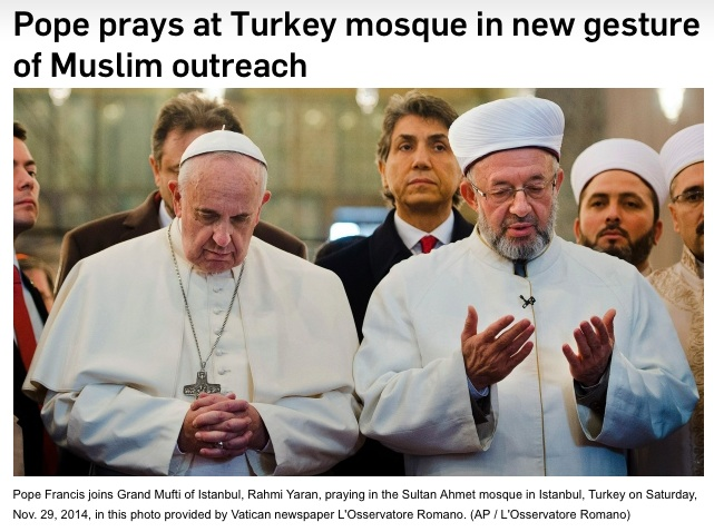 The Pope joins he Grand Mufti in a prayer towards Mecca.