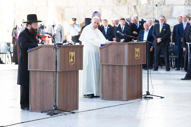 The Pope gets a pulpit at the Western Wall. Soon his chair will be placed on top of the Temple Mount.