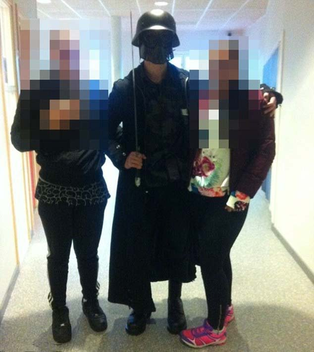 Dressed like a cartoon figure, the Swede was welcomed in the school before cutting students and teachers with his sword.