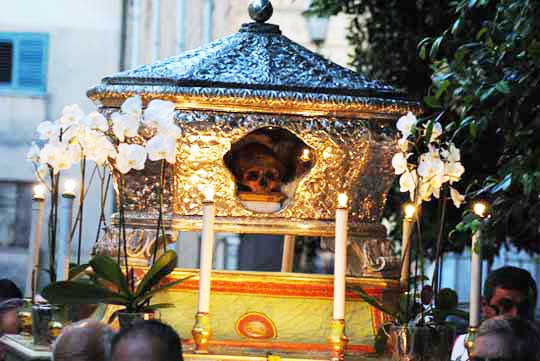 The skull is paraded through the street, and no one objects to this spiritual insanity.
