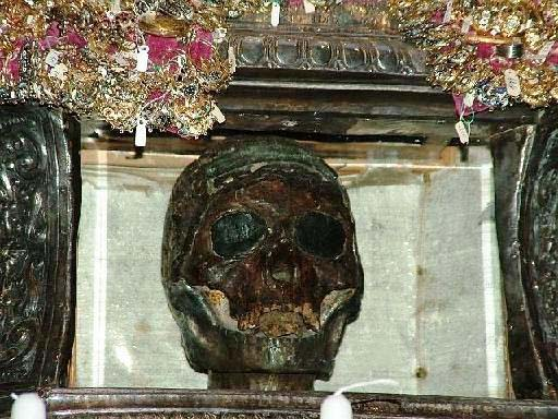 The mother all of religious fraud, the claimed skull of the grandmother of God.