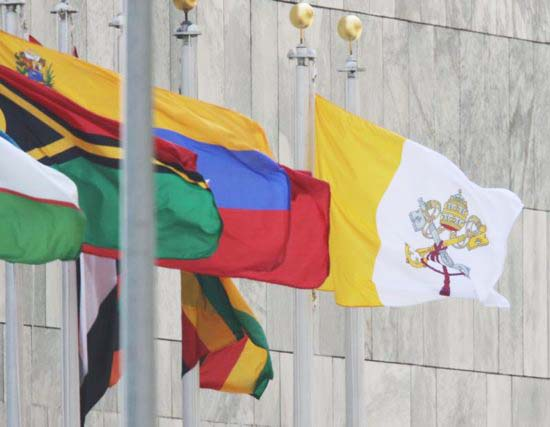 The Vatican flag was hoisted at the UN on the same day as the PLO-bannar.