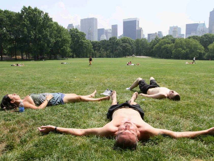 Hotter than july in the beginning of November, Central Park, NYC.